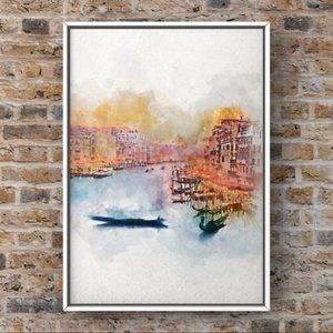 Abstract Venice canal city watercolor art print